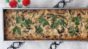 Portobello gombás-zöldbabos pite